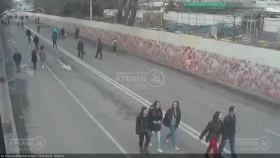 Scooter Rider Takes Out Girl