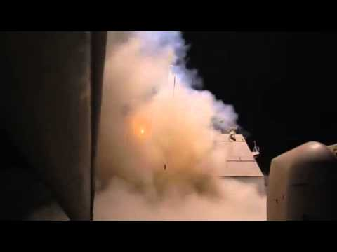 US Navy Ship Launches AIRSTRIKES ON SYRIA ISIL ISIS Islamic State | Missiles Video