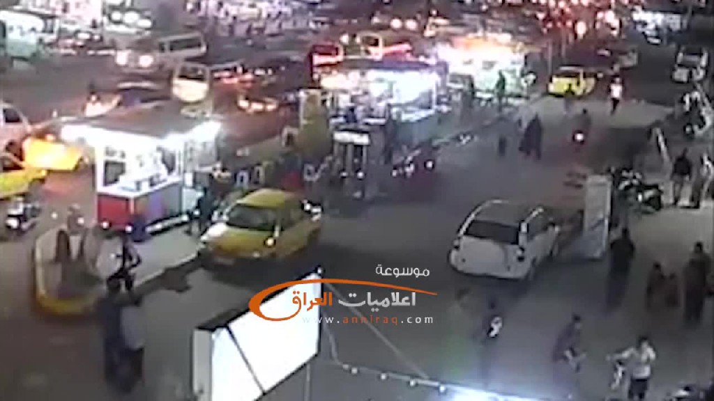 A CCTV camera captures part of the blast of a martyrdom attack in a market for shiites: Baghdad