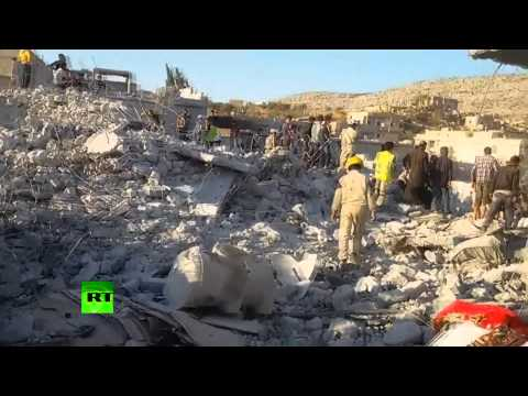 Aftermath Footage: Overnight anti-ISIS airstrikes devastate village in Syria